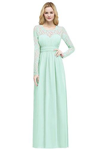 Damen 2018 Abendkleid Chiffon Trauzeugin Kleid Hochzeitskleid Standesamt Lang A-Linie Mint Grün 42