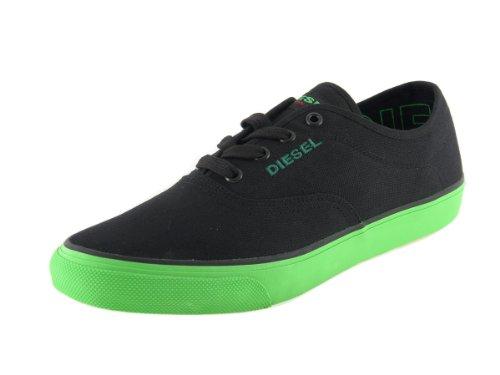 DIESEL - scarpe unisex (KPM-282-E) - sneakers basse in tela nero/verde fluo, moda fashion Nero