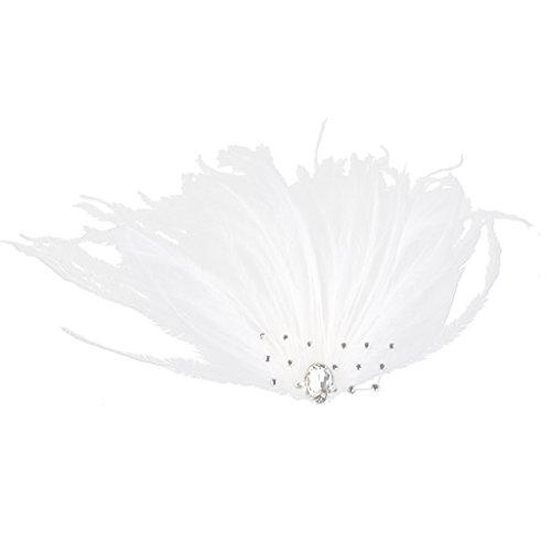 Pince à Plume Synthétique Décoration de Cheveux Mariage - Blanc
