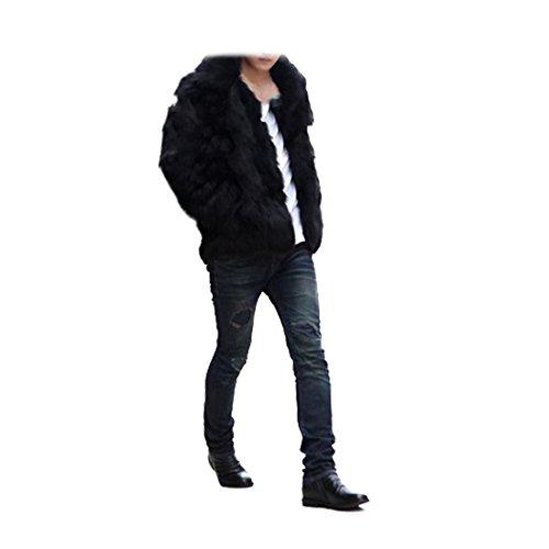 YYF Herren Winterjacke Pelzmantel Langmantel Faux Fur Jacke Schwarz