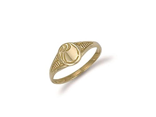 Echtes 9ct Gelb Gold Baby Graviert Oval Signet Ring 6mm