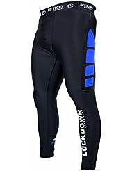 Lockdown Black Blue MMA Compression Leggings Running Cycling Rugby Gym Base Layer