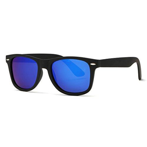kimorn Polarizado Gafas De Sol Clásico Unisexo Cuerno Rimmed Años 80 Retro AE0300 (Negro&Azul, 52)