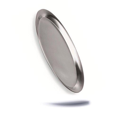 Oval Serviertablett Servierplatte Tablett aus Edelstahl matt poliert mit gebördeltem Rand klein zum servieren Spülmaschinenfest - service tray - Oval Matt