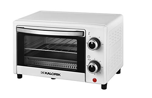 Team Kalorik TKG OT 2025 WH 9 Liter Mini-Ofen mit Backblech, Grillrost und Krümelschublade (0-230°C), 900, 9 liters, Weiß