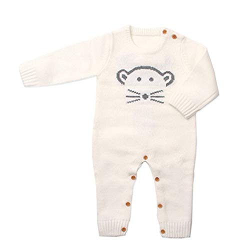 QIQI Kinderknit Sweater, Baby Long Sleeve Knit Jumpsuit Herbst und Winter Boys und Girls Kostüme,White,73cm (White Girl Kostüm)