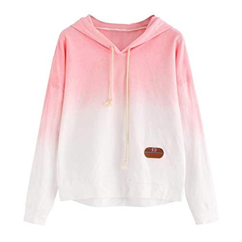TWIFER Damen Hoodie Gedruckt Patchwork Sweatshirt Langarm Pullover Tops Bluse - Baumwolle Bestickt Verziert Top