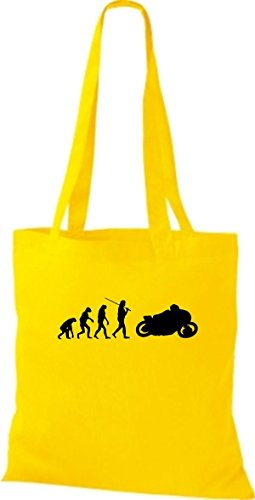 ShirtInStyle Stoffbeutel Jute Evolution Motorrad Biken Stunt Freebike Biker diverse Farbe gelb