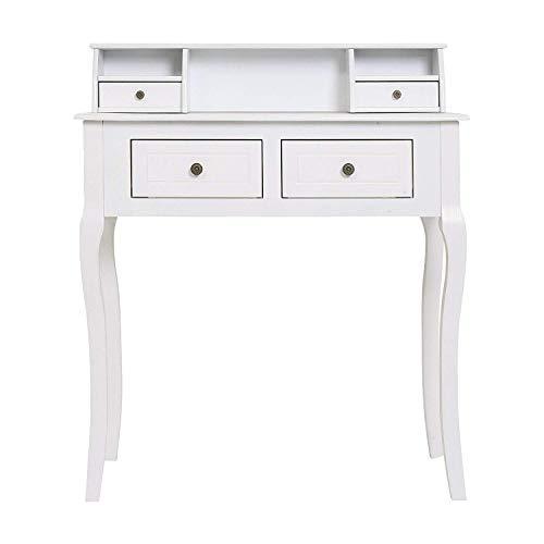 Rebecca Mobili RE4449 Bureau avec 4 tiroirs, Bois Paulownia, MDF, Blanc Style Classique, Chambre d'entrée
