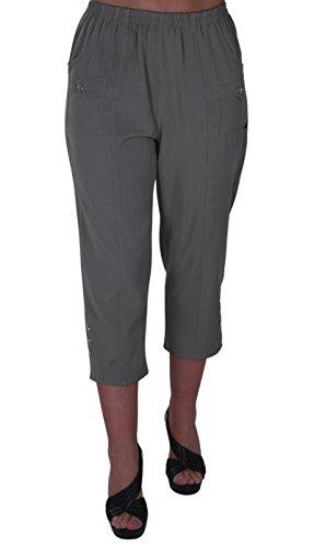 EyeCatch - Verde Damen Capri Crop Hose Flexi Stretch Plus Größen Frauen 3/4 Hosen Khaki Crop Hose