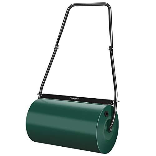 Finether Gartenwalze Handwalze 46L Rasenwalze mit Schmutzabstreifer Zusammenklappbarer Griff (Alle Stahltrommel, Griff und Schaber aus Metall, Gewicht mit Sandfüllung 78 kg oder mit Wasser 55 kg)