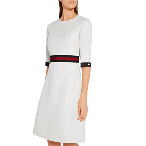 Kanpola Kleider Damen A-Linie Schlank Pullover Casual O-Ausschnitt Partykleid (Merino-pullover Kleid)