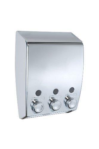 WENKO 18403100 Dispenser sapone a triplo erogatore Varese Bianco Cromo - 3 scomparti da 450 ml ciascuno,  3 x 0.45 L, Materiale plastico, 19 x 25 x 8 cm, Cromo