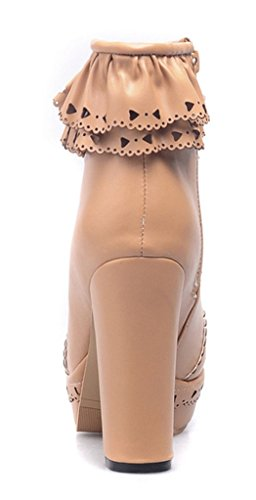 YE , Chaussons montants femme Marron Clair
