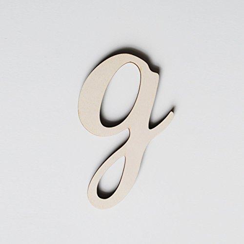 ONEOFF TOYS G Corsivo Minuscolo bellissima lettera in legno di pioppo naturale tagliata al laser H MEDIA: 6 cm