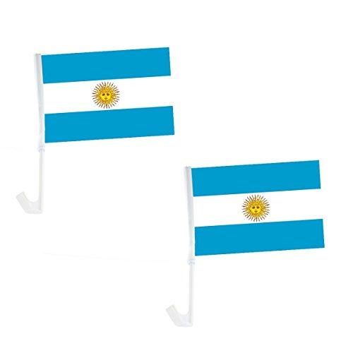 Sonia Originelli 2er Set Auto Flagge Fahne WM Länder Fußball Fan Farbe Argentinien