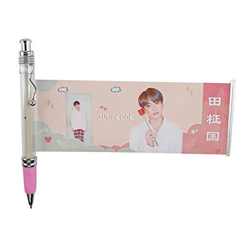 Skisneostype Kpop Photo Pen BTS 'MAP of the Soul: Persona' Lala Pen Black Ballpoint Gel Pen Soporte Army, color H08