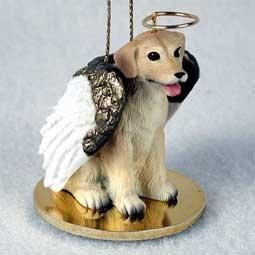 Yellow Labrador Retriever Tiny One Dog Angel Christmas Ornament by C.C. -