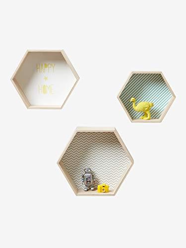 VERTBAUDET Lot de 3 étagères hexagones Enfant Bois/Multicolore TU