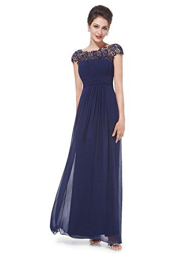 Ever-pretty abiti da cerimonia donna girocollo maniche corte pizzo chiffon lungo blu navy 50