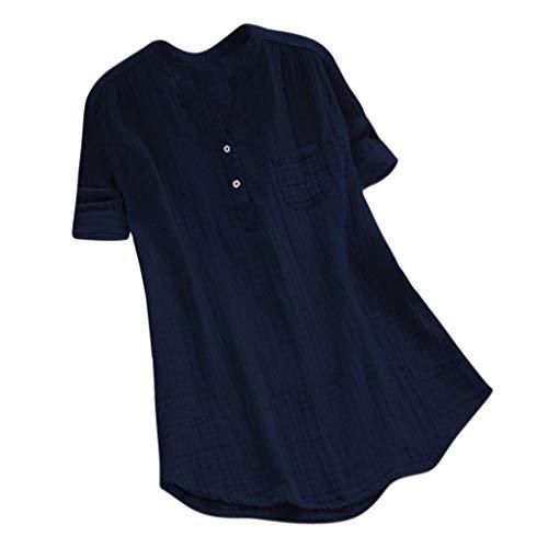 Cooljun 2019 neue frauen blousewomen casual stehkragen baumwolle leinen bluse kurzarm lose hemd tasche tops