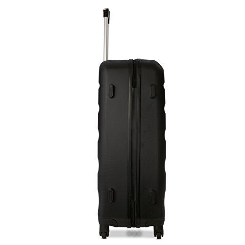 Aerolite ABS Hartschale 4 Rollen Leichtgewicht Handgepäck Kabinenkoffer mit eingebautem TSA Schloss, Genehmigt für Ryanair, British Airways & Viele Mehr, 79cm, Schwarz - 3