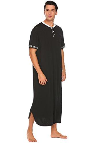 Herren Nachthemd Kurzarm Sleepshirt Lang Schlafkleid Roben Lose Nachtwäsche Knopfleiste Mit Taschen und Rundhalsausschnitt Schwarz XXL (Robe Sleepshirt)