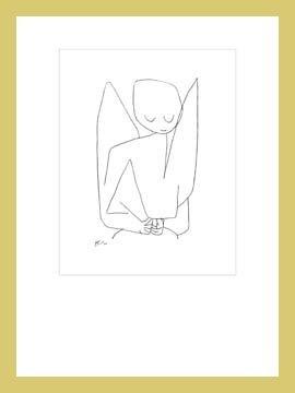 Bild mit Rahmen Paul Klee - Vergesslicher Engel - Digitaldruck - Holz gold, 70 x 93.1cm - Premiumqualität - Zeichnung, Engel, Himmelswesen, Expressionismus, Klassische Moderne, Büro, Wohnzimme.. - MADE IN GERMANY - ART-GALERIE-SHOPde