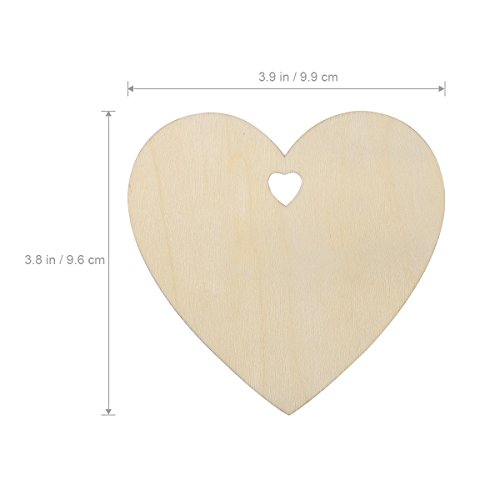 Pixnor 50 Plain Wooden Heart Shape Craft Tags Plaques Decorative 100mm