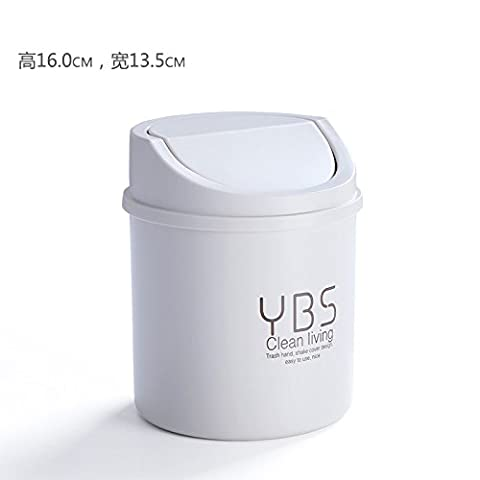 Desktop Trash Can home creative mini door trash cans in the living room, bedroom debris covered clean bucket,M White Half-round