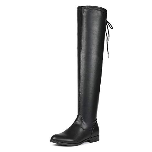 DREAM PAIRS Frauen overide Schwarz PU Overknee Hohe Stiefel 8.5 B (M) US Damen Black_pu 8.5 M US