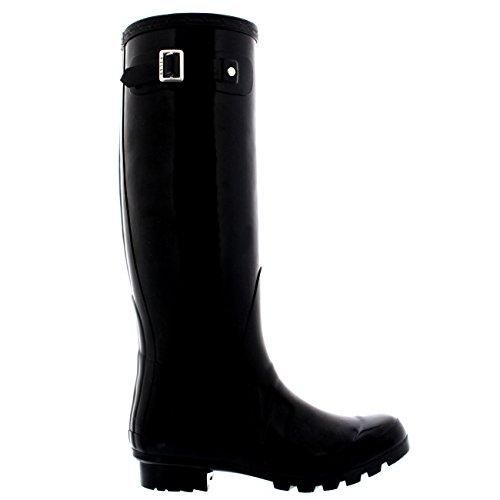 Damen Original Tall Gloss Winter Wasserdicht Regen Gummistiefel Stiefel Schwarz