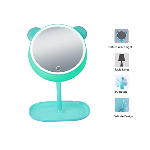 Sfesnid 4 en 1 Espejo de Maquillaje & Lámpara de Escritorio & Luz Nocturna &luz Ambiente USB recargable...