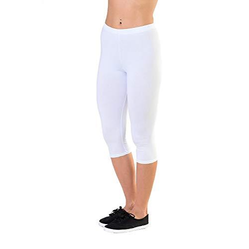 Alkato Damen Leggings 3/4 Capri Blickdicht Baumwolle Stretch, Farbe: Weiß, Größe: 46