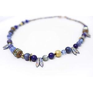 Designer Halskette mit Dagger und Ripple Beads sowie 22kt vergoldeten Perlen