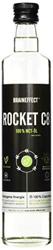 BRAINEFFECT MCT Öl C8 - ROCKET C8 (Caprylsäure) - 500ml Glasflasche - Extrakt aus Kokosöl - Ketogene Ernährung, Bulletproof Coffee, Smoothies & Dressing - Geschmacksneutral - Vegan