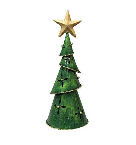 Meubletmoi Teelichthalter Weihnachtsbaum, Metall, Grün bemalt, Dekorationsartikel zum Aufstellen, Tannenbaum Deko 02