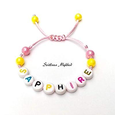 Bracelet avec prénom SAPPIRE réversible, personnalisable pour homme, femme, enfant, bébé, nouveau-né.