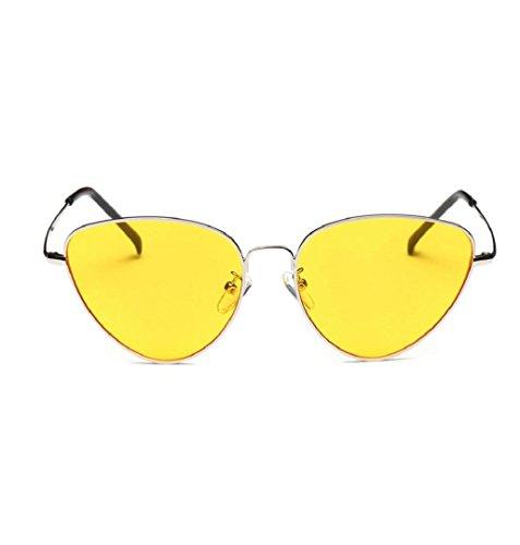 Travel Sonnenbrille, ZEZKT Unisex-Sommer Weinlese Retro Katzen Augen Gläser (Gelb) (Gelbe Gläser)