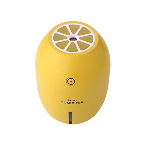Luftbefeuchter Ultraschall MINI Luftbefeuchter Raumbefeuchter mit kühlem Dampf, klassische 2W, 180ML mit LED-Leuchten Kalten Nebel Raumbefeuchter (Gelb)
