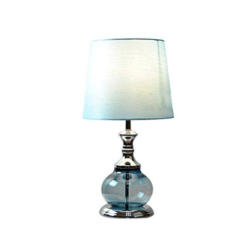 Health UK table lamp- Mittelmeer Blue Crystal Rural Nordic Tischlampe Augenschutz Nachtlicht Tuch Schatten Schlafzimmer Nachttischlampe Studie Lesen E27 LED Kunst Schreibtisch Licht welcome