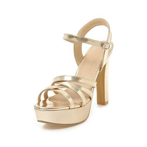 Sandalen Damen Pu Mode 11,5 cm Sexy Wilde Bequeme Trend Nachtclub High Heel Sandalen, Gold_39 -