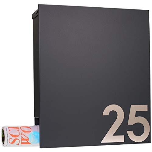 MOCAVI Box 111 Design-Briefkasten mit Zeitungsfach anthrazit-grau (RAL 7016) Wandbriefkasten, Schloss rechts, groß, Aufputzbriefkasten dunkelgrau, Postkasten anthrazitgrau modern mit Zeitungsrolle - 8