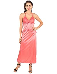 2a8a8d9509 Curves Beauty Women s Satin Sleepwear Short Nighty with Full Length Robe  Nightgown Set of 2 Pcs