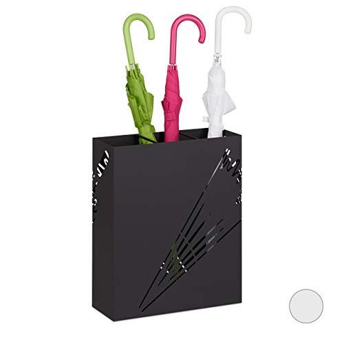 Relaxdays, nero portaombrelli xl, supporto rettangolare per ombrelli e bastoni, acciaio, portatile, 48x40x15cm, 48 x 40 x 15 cm