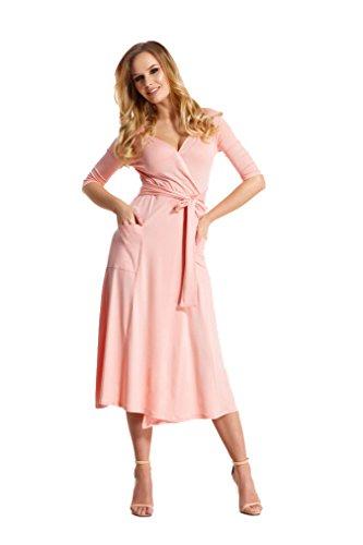 Elegantes Damen Kleid 3/4 Arm Abendkleid mit V-Ausschnitt Cocktailkleid lang, 103EM Puderrosa XL/2XL