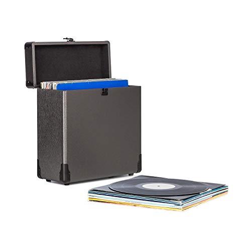 """Auna Vinylbox - Coffret pour disques vinyles , Stockage , Jusque 30 vinyles de 12"""" (30 cm) , Couvercle Rabattable , Boîtier en Aluminium , Noir"""