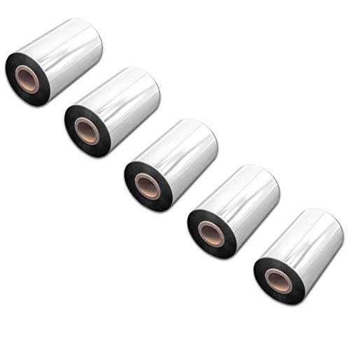 vhbw 5X wischfest Thermotransfer-Band schwarz 100mm 300m für Drucker Etikettendrucker Citizen CLP-621, CLP-631, CLP-7201e, CLP-8301, CLP-9001