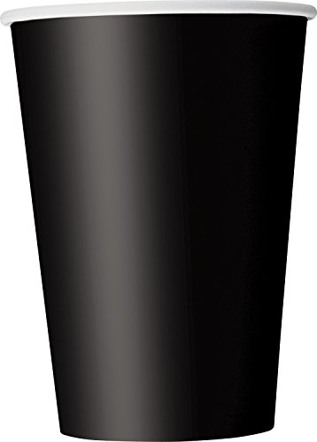 10 schwarze Becher 355 mL (Party Schwarz Supplies)