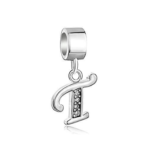 PoeticCharms Buchstaben A-Z Alphabet 925 Sterling Silber Anhänger Charm für Armbänder Letter T